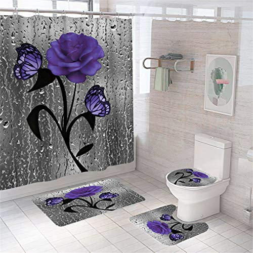 flowerlove Hewego Floral Shower Curtains Butterfly Purple Rose Bathroom Curtain with Non-Slip Rugs Durable Waterproof Polyester Bath Curtain Sets Toilet Lid Cover Bath Mat Medium Size