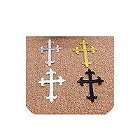 20ピース/ロットゴールドイエスクロス刺繍パッチ教会アップリケレーストリム鉄の3Dコスプレ衣装7.5 * 10センチメートルDiy、20個ミックスカラー