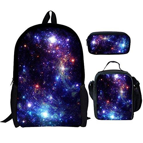Kuiaobaty Mochila escolar para niñas y niños, con bolsa de almuerzo, estuche 3 en 1, Galaxia Azul, Talla única,