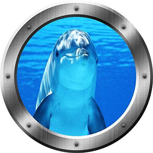 Porpoise Wall Decal Dolphin Porthole 3D Wall Sticker Peel and Stick Decor VWAQ-SP29 (14 Diameter)