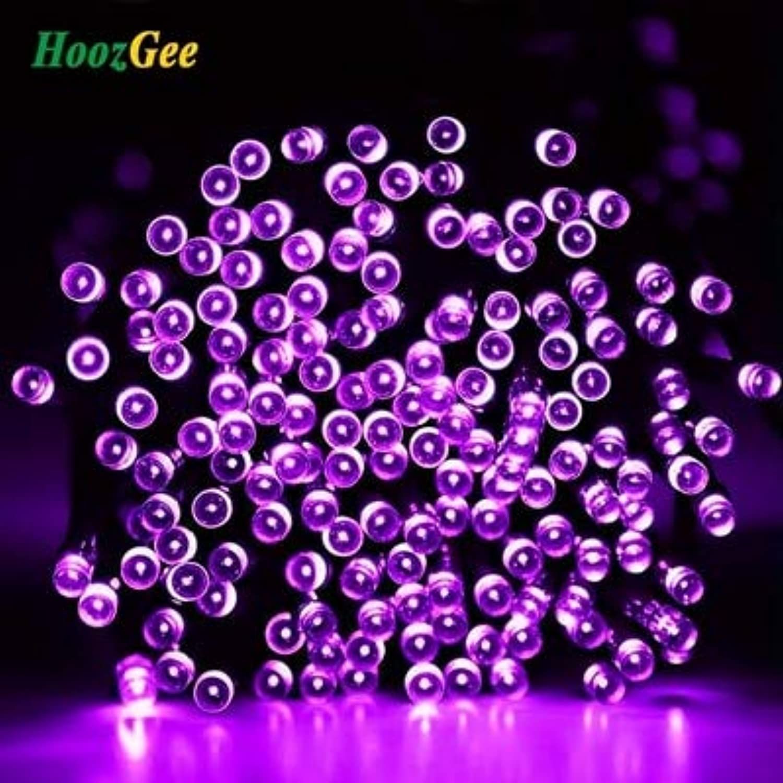Purple, 50 LED 7M   HoozGee Solar String Lights Outdoor 50 100 200 LED 8 Mode 7M 12M 22M Wire Lamp Garden Party Decor X'Mas Lighting