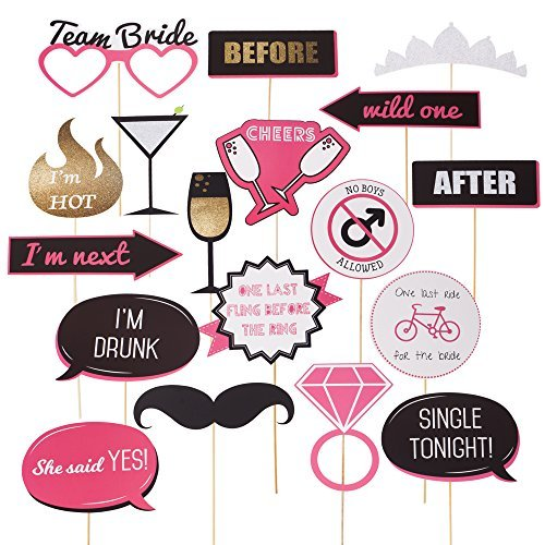 Bachelorette Party Photo Booth Props - Fun Wedding Photo Booth Props or for Bridal Shower - Make the Perfect Selfies with these Photobooth Prop Sticks for Engagement and Girls Night Out Party Supplies