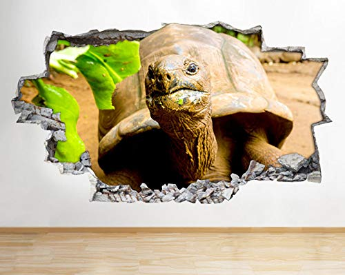 R467 schildpad blad eten voedsel dier gebroken muur sticker 3D kunst Stickers Vinyl RoomMedium