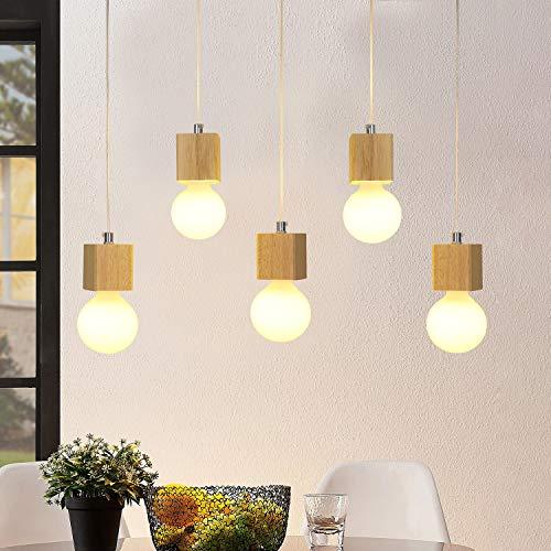 GBLY lampada a sospensione lampada da tavolo a 5 fiamme in legno da 150cm lampada a sospensione regolabile in altezza con attacco E27 per sala da pranzo cucina soggiorno ristorante (senza lampadine)