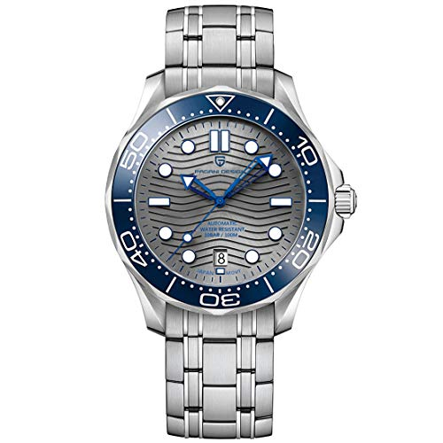 Pagani Design Seamaster Homage - Reloj de Buceo automático para Hombre, Acero Inoxidable Completo, Bisel de cerámica, Espejo de Zafiro, 100 m Impermeable