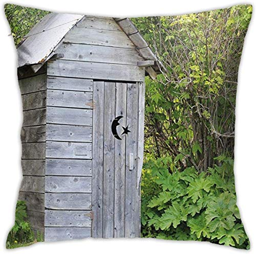 Outhouse Vintage Farm Life Inspired Cottage in Forest Trees Leaves Artwork ES Light Grey and Fern Green Throw Pillow Covers 18inch*18inch,Pillowcase Decorative - No Inserts Included