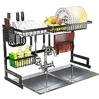 家庭用キッチン収納棚、シンク皿乾燥ラックの上、黒いステンレス鋼の水切りディスプレイ棚、調理器具ホルダー付きカウンタートップスペースセーバー食器オーガナイザー