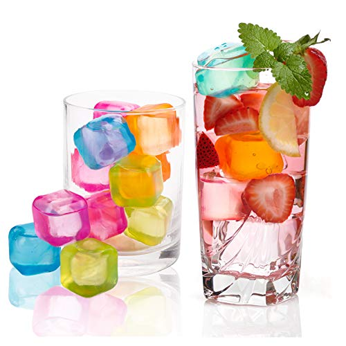 Yopay 200 Pieces Reusable Ice Cubes, 0.1' Plastic Squares for Drinks, Whiskey, Wine or Beer, Keep Your Drink Cold Longer, Refreezable, Washable, Assorted Color