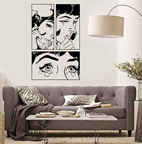 Chica De Dibujos Animados Vinilo Pegatinas De Pared Chica Mujer Adolescente Llorando Cool Pop Art Dormitorio Tatuajes De Pared Diseño Personalidad Fondo De Pantalla S94X146Cm