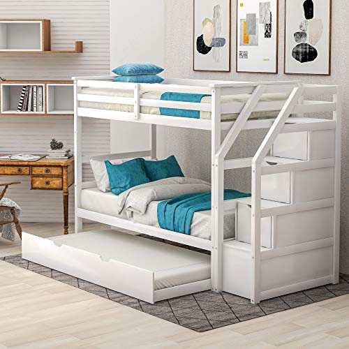Merax Solid Wood Bunk Bed for Kids, Twin Over Twin Trundle Bunk Bed with 3 Storage Drawers and Staircase (White)