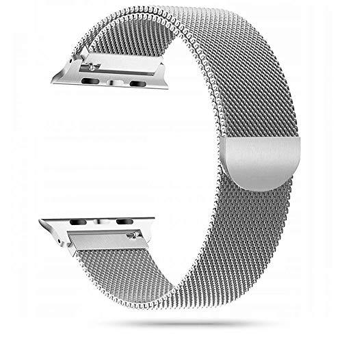 Tech-Protect - Cinturino di ricambio per Apple Watch 42 mm e 44 mm, in acciaio inox, compatibile con iWatch Series SE/6/5/4/3/2, con magnete, colore: Argento