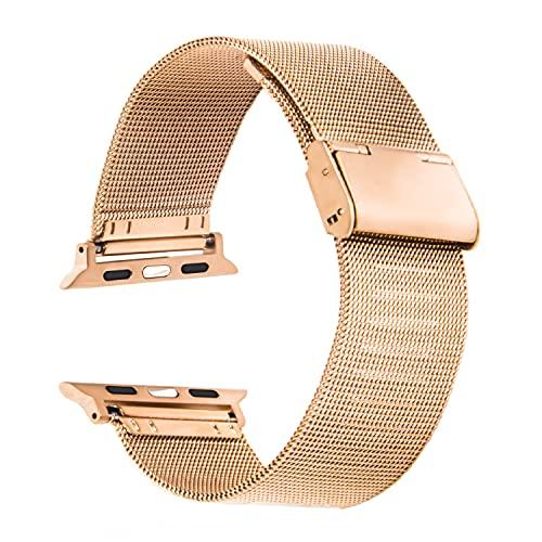 Cinturino Apple Watch 44 mm 38mm 42mm 40mm Smartwatch Bracciale Ricambio Compatibile Serie 6 5 4 3 2 1 SE Regolabile Universale Donna Uomo Traspirante Maglia Acciaio Inossidabile (42/44mm Rose Gold)