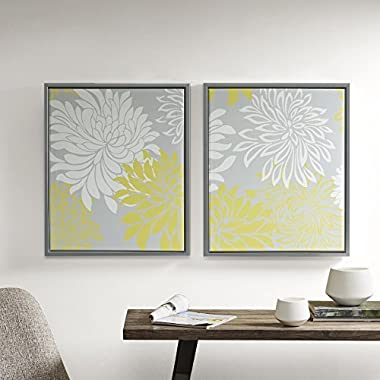 Comfort Spaces Printed Canvas Set With Frame - 2 Pieces, 20'' x 24  - Enya - Yellow, White, Grey, Floral