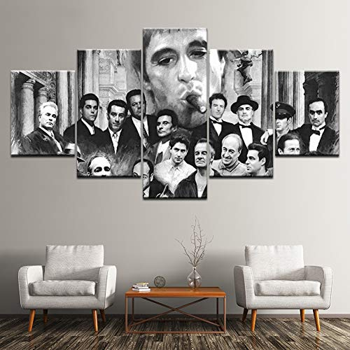 XLST HD Impreso 5 Panel Godfather Goodfellas Scarface Sopranos Cartel Modular Lienzo Sala de Estar Pintura Arte de La Pared de la Decoración Moderna,B,10X15X210X20X210X25X1