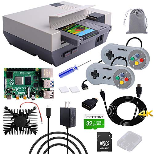 GeeekPi RETROFLAG NESPi 4 Case Kit With RPi 4 4GB Motherboard, Raspberry Pi 4 Case with SSD CASE, HDMI Splitter Switch & Cooling Fan & Heatsinks & USB Wired Game Controllers for Raspberry Pi 4 Model B