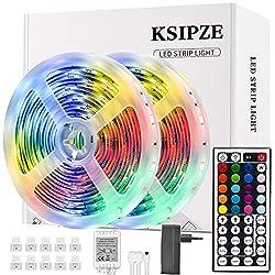 Changement de couleurs multiples: la led ruban a 20 couleurs et 6 options de bricolage, 8 modes d'éclairage Télécommande: Vous pouvez utiliser la télécommande à 44 touches pour régler la luminosité et changer les couleurs et les vitesses Installation...