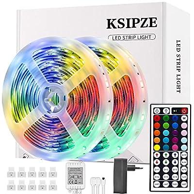 Cambio de varios colores: la tira de luz LED tiene 20 colores, 6 opciones de bricolaje y 8 modos de iluminación Control remoto: puede usar el control remoto de 44 teclas para ajustar el brillo y cambiar los colores y las velocidades de las luces de t...