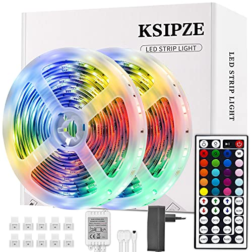 Ksipze Led Tape 10M, Led Strip 300 Leds 5050 Rgb Regulable String Lights con Control Remoto, Cinta Autoadhesiva, Luz Led Decorativa Multicolor, Led de Dormitorio, 2pcsX5m