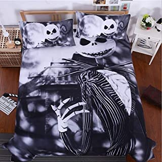 StarFashion 3D Nightmare Before Christmas Duvet Cover Sets, Jack Decor, 100% Microfiber Galaxy Bedding Set with Pillow Shams 3PCS Bedding,No Comforter (Christmas, 3pcs) (Queen)