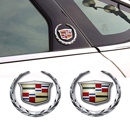 2pcs 3D for Cadillac Emblem, Metal Labeling for Escalade ATS SRX XTS CTS XT5 XLR,etc, Car Tailgate Hood Emblem