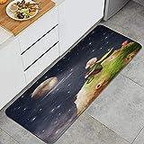 VINISATH El Principito con una Rosa en un Planeta en el Hermoso Cielo Nocturno ilustración Arte Alfombrillas de Cocina Antideslizantes Felpudo Lavable Juego de Alfombras de Microfibra