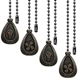 4 Pieces Bronze Pull Chains Ceiling Fan Pull Chain Extension Fan Pull Chain Pendant 12 Inch Ceiling Fan Chain...