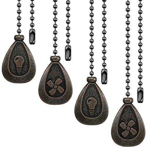 4 Pieces Bronze Pull Chains Ceiling Fan Pull Chain Extension Fan Pull Chain Pendant 12 Inch Ceiling Fan Chain Extender Ornament with Ball Fan Chain Connector (Black Copper)