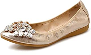Avish Womens Foldable Pointed Toe Ballet Flats Rhinestone Comfort Slip on Flats Dress Shoes