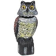 Yaheetech Realistic Wind Action Owl Decoy, Lifelike Owl Protector Deterrent, Birds/Pigeon/Seagull/Crow Scarers, 360 Rotating Head, 15 x 15 x 38 cm