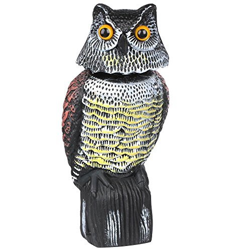 Increíble diseño de búho realista, señuelo con cabeza giratoria aves/palomas/gaviotas/Cuervo espantapájaros de plástico pájaro repelente disuasorio para jardín