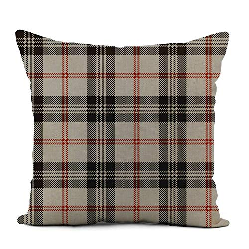 Linen Throw Pillow Cover Red Tartan Plaid Grey Pattern Black Scottish Traditional Abstract Home Decor Pillowcase 16x16 Inch Cushion Cover For Sofa Couch Bed and Car 18' X 18'(IN)