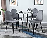 Dining Table Set Modern 5 Pieces Dining Room Set Mid Century Round Tempered Glass Kitchen Table and...