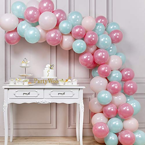 PartyWoo Mint Green Balloons, 70 pcs Mint Balloons, Pastel Pink Balloons and Pink Latex Balloons, Mint Pink Balloons for Candy Party Decorations, Ice Cream Party Decorations, Mint Party Decorations