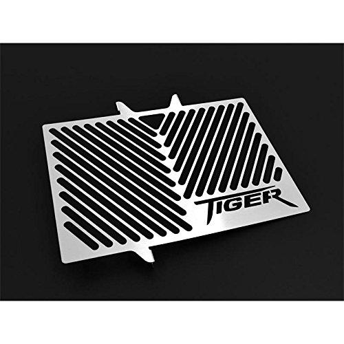 Triumph Tiger 800 / XC BJ 2010-18 Kühlerabdeckung Wasserkühler Kühlergrill Kühlerschutz Kühlergitter Kühlerschutzgitter Kühlerverkleidung Logo silber