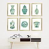 MKWDBBNM Acuarela Chinoiserie Jarrones Impresión Ming Porcelana Esmeralda Asia Verde China Arte Lienzo Pintura Cartel del Este Arte de la Pared Decoración   30x42cmx6 Sin Marco
