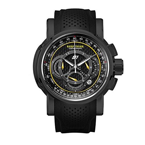Reef Tiger Sport Chronograph Quartz Black Steel Rubber Strap Mens Watches RGA3063 (ZRGA3063-BGB)
