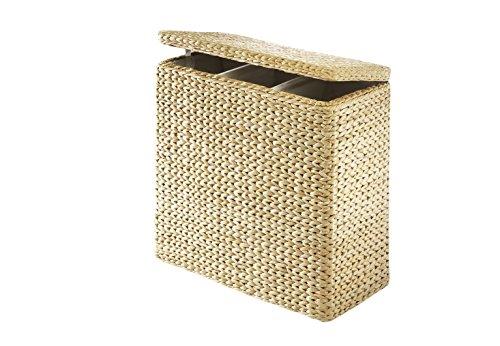 Kobolo Praktischer Wäschesortierer mit 3 Einteilungen aus Binse mit Textilinnenfutter