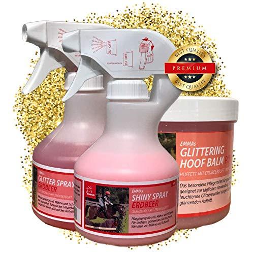 EMMA paardenverzorgingsset kinderen 3-delig I manenspray, staartspray roze + geur voor paard & pony I glitter huffet roze & geur I glitter bontglans spray I inhoud poetsdoos I cadeau voor paarden meisjes
