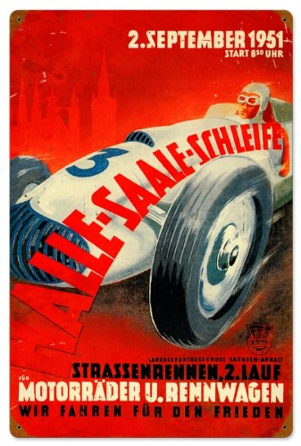Past Time Signs PTS028 Halle Saale Racetrack Automotive Vintage Metal Sign