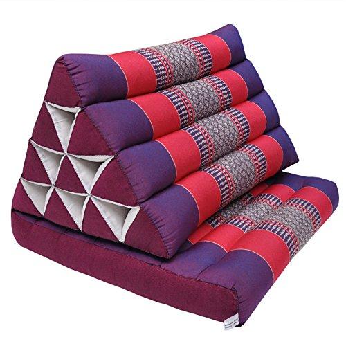 Wifash - Cojín triángulo con asiento, tailandia, cojín de meditación, almohada, morado/rojo (81501)
