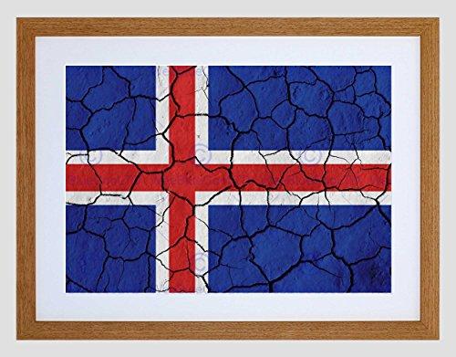 Verf Abstract Vlag Gebarsten Beton IJsland Rood Wit Blauw Kruis Ingelijste Muur Art Print