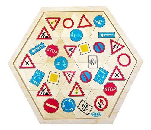 Hess Spielzeug 14953 - Legespiel aus Holz, Verkehrszeichen