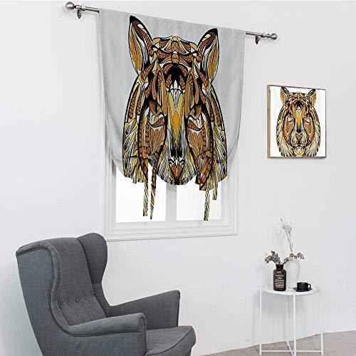 GugeABC Tattoo Decor - Cortinas para sala de estar, diseño de caballeros antiguos de mesa redonda, símbolo celta con alas de ángel salvador, persianas romanas para ventana, blanco y negro, 99 x 163 cm