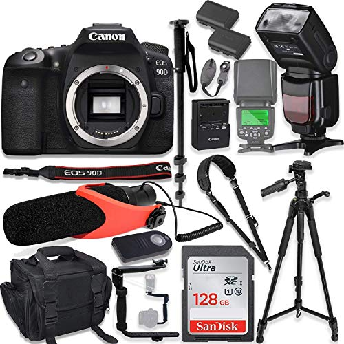 """Canon EOS 90D DSLR Camera Body Only Kit with Pro Photo & Video Accessories Including 128GB Memory, Speedlight TTL Flash, Quick Release Strap, Condenser Microphone, 60"""" Tripod & More (Renewed)"""