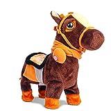 Smalody Juguete Interactivo de Peluche de Caballo Robot electrónico para Caminar con animación para Mascotas, Caballo con Correa, Pony para niños y niñas(Negro)