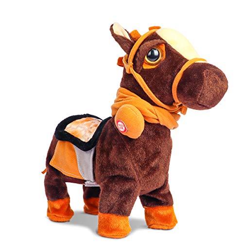 Smalody Juguete Interactivo de Peluche de Caballo Robot electrónico para Caminar con animación para Mascotas, Caballo con Correa, Pony para niños y niñas