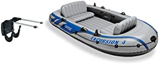 Intex Excursion 4 Inflatable River/Lake Boat Raft Set & Motor Mount Kit