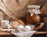 empty Pintura al óleo por números Kit Lienzo óleo números Pintura de Lona para Adultos y niños con Pinturas acrílicas Decoraciones para el Hogar-Desayuno 40 x 50 cm sin Marco