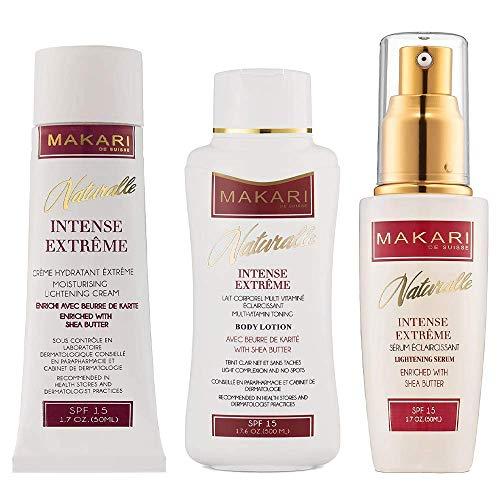 Makari Naturalle Intense Extreme Lightening, Toning & Moisturizing Gift Set Enriched with Shea Butter- Includes Cream 1.7Oz, Body Lotion 17.6Oz & Serum 1.7Oz  Whitening...