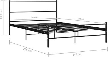 BIGTO Cadre de lit double de luxe en métal (noir, 140 x 200 cm)